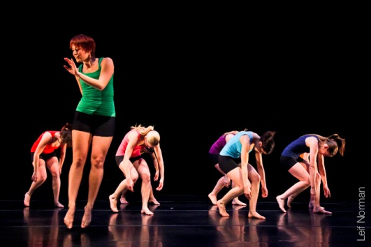 Sam Penner with dancers. Photo: Leif Norman, 2013.