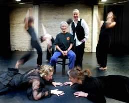 Rachel Browne & Stephanie Ballard with dancers, October 2002. Photo: Wayne Glowacki, Winnipeg Free Press.